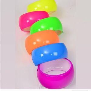 Trendy 90's Inspired Neon Hinged Bracelets set 2